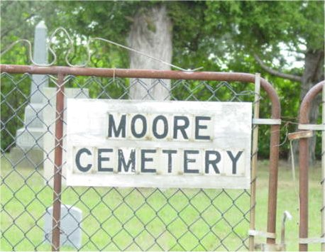 Picture of the Moore Cemetery sign