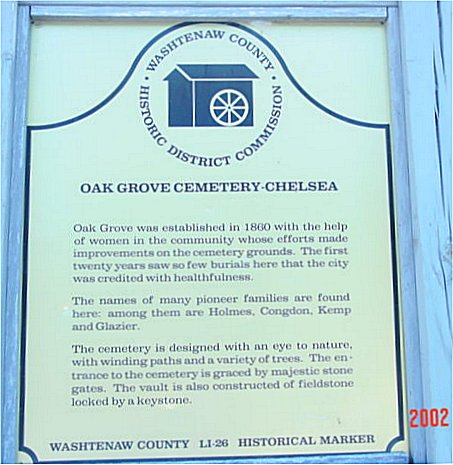 Picture of the sign at Oak Grove Cemetery