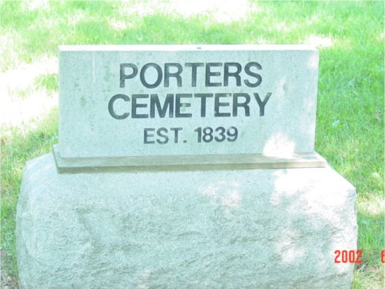 A picture of the Porter Cemetery stone